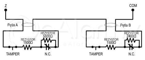Schemat, dublowanie linii w systemie alarmowym