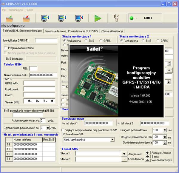 Aplikacja do programowania modułów GPRS-T1, T2, T4, T6 i Micra Satel